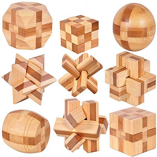 Perfecbuty 9PCS 3D Cubo Puzzles de Madera Clásico Educativo Jigsaw IQ Rompecabezas Interbloqueado Juguetes para Niños y Adultos Ejercicio Capacidad,desafiar su Pensamiento,Cumpleaños,Navidad,Regalo