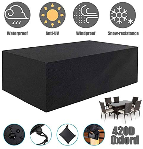 ZHAONI Waterproof Patio Table Cover, Outdoor Rectangular Furniture Set Cover Square Cover 420D Heavy Duty Tough Canvas Dustproof Dining Table Chair Set Cover W Storage Bag,250x250x90cm/8x8x3ft