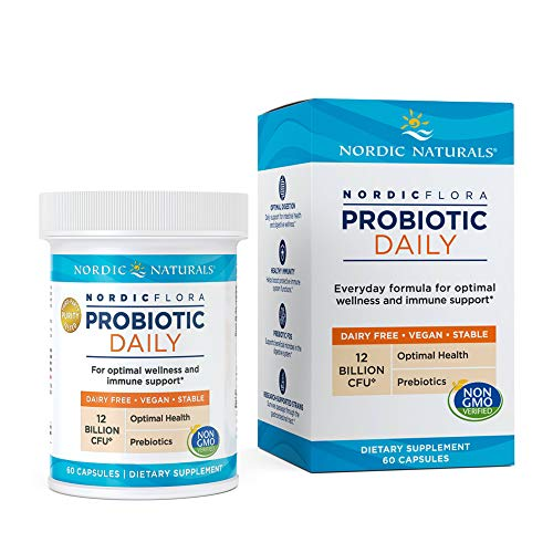 Nordic Naturals Nordic Flora Probiotic Daily - 60 Capsules - 4 Probiotic Strains with 12 Billion Cultures - Optimal Wellness, Immune Support, Digestive Health - Non-GMO, Vegan - 30 Servings