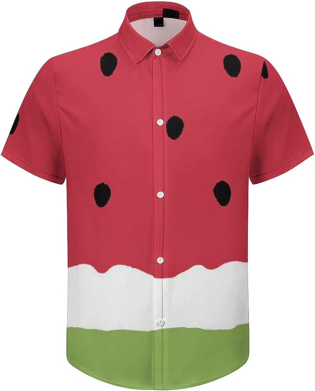 Mens Button Down Shirt Watermelon Red Black Casual Summer Beach Shirts Tops