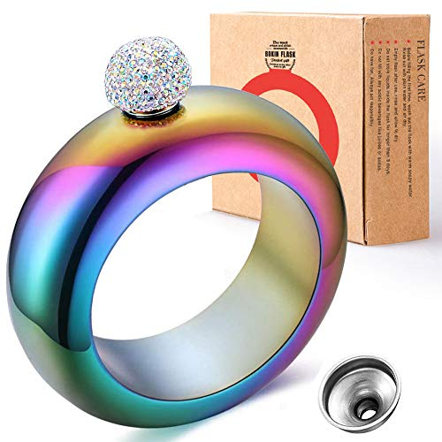 BOKIN Holographic 304 Stainless Steel Wine/Alcohol Wrist Flasket with Handmade Rhinestone Lid, Funnel in Gift Box For Women Girls Dance Birthday Party Club Bar, 3.5oz