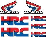 7 pegatinas de vinilo con impresión digital brillante - Adhesivo compatible con Honda HRC, color rojo y azul, 7 pegatinas