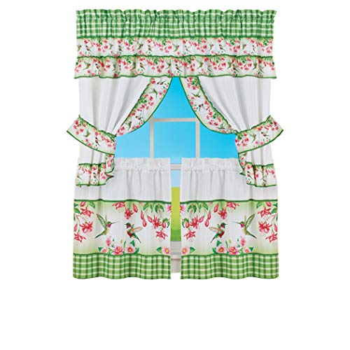 Collections Etc Colorful Floral Hummingbird Kitchen Window Curtain Set