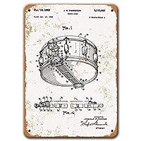 スネアドラム特許ポスター、ヴィンテージメタルウォールアート1963バーホームコーヒーマン洞窟装飾用スネアドラム特許錫サイン8x12インチ