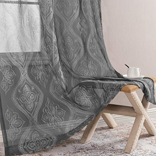 jinchan Embroidered Sheer Curtains Grommet Top 2 Panels W55 x L63 inch Damask White on Charcoal Grey