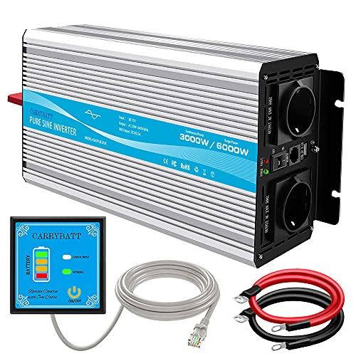CARRYBATT Inverter 3000w/6000w Onda Sinusoidale Pura/Trasformatore da 12v a 220v,Power Inverter da Auto per Camper/Barca con Porte USB 2.1A & 2 Prese AC (telecomando,Fusibili,cavi)
