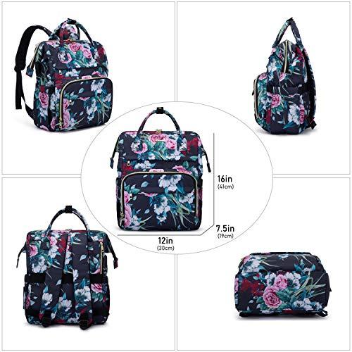 LOVEVOOK Rucksack Damen mit 15,6 Zoll, Schulrucksäcke für mädchen Teenager, Laptop Rucksäcke mit Laptopfach und Anti-Diebstahl Tasche, Rosemuster Blau