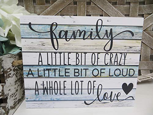 Lplpol Family Sign Family.A Little Bit of Crazy.A Whole Lot of Love Humorous Family Sign Decorative Rustic Wood Sign 12x18 Inch Wall Art Home Decor STB011