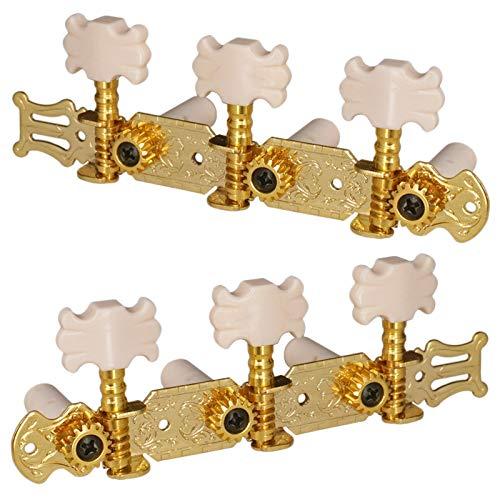 Huante Clavijas de afinación de cuerdas para guitarra clásica, 1 izquierda, 2 derecha, con tornillos de montaje, color dorado