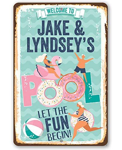 """Metallschild mit Aufschrift """"Welcome to our pool Floats"""", langlebig, für drinnen und draußen, tolle Pool-Dekoration"""