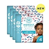 The Honest Company Baby Diapers with TrueAbsorb Technology, Quail Feathers, Size 4, 92 Count