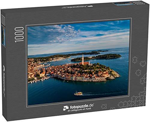 fotopuzzle.de Puzzle 1000 Teile Schönes Rovinj bei Sonnenuntergang - HDR-Luftbild von Einer professionellen Drohne aus dem Meer (1000, 200 oder 2000 Teile)