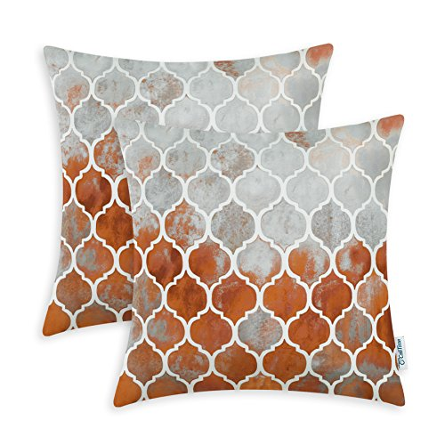 CaliTime Pack of 2 Cozy Throw Pillow Cases Covers for Couch Bed Sofa Farmhouse Manual Hand Painted Colorful Geometric Trellis Chain Print 20 X 20 Inches Main Grey Rust Red