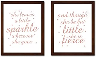 Inspirational Cardstock Art Print, She Leaves a Little Sparkle Quotes Motivational Rose Gold Foil Print Framed Two(8x10 inch) Funny Wall Art for Girls Bedroom Decor- Walnut Color Frames Ready to Hang