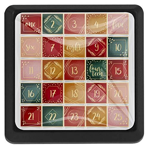[4 piezas] Colorido cristal armario armario armario cajón tirador de puerta tirador de la manija de la puerta de Navidad calendario de Adviento patrón