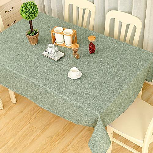 Wařm Mantel Color Sólido Decorativo de Lino con Mantel de Mesa de Comedor Decoración del Hogar Rectángulo Mantel Verde Gris 140x140CM