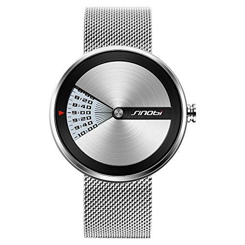 SINOBI Business Watches Men Fashion Original Design Watch Men Steel Mesh Men's Watch Clock Relogio Masculino Creative Wristwatch (Silver)