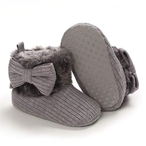 COSANKIM Baby Girls Boys Boots Soft Anti-Slip Sole Warm Winter Snow Booties Toddler Infant Newborn Prewalker Shoes(3-6 Months Infant, 06-Grey Baby Shoes