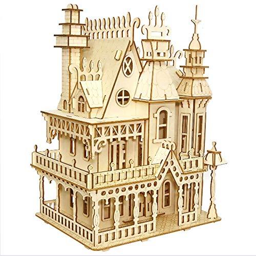 WF DIY 3D Rompecabezas de Madera Montaje Modelo de Juego Juguetes para Adultos y Adolescentes, Puzzle de Madera Puzzle Bloque de construcción de Casas, Incluidas Las Piezas de Montaje de 268 Piezas.