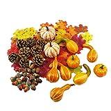 Amosfun, Zucca Artificiale di Halloween, ghiande finte, Foglie d'Acero per Halloween, Ring...