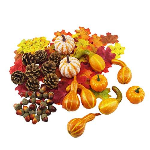Amosfun, Zucca Artificiale di Halloween, ghiande finte, Foglie d'Acero per Halloween, Ringraziamento, Natale, Decorazione per la casa
