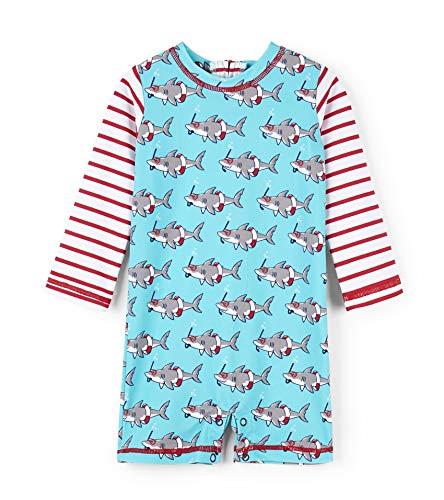 Hatley Baby-Jungen Rash Guard One Piece Einteiliger Badeanzug, Schnorchelhaie, 3-6 Monate