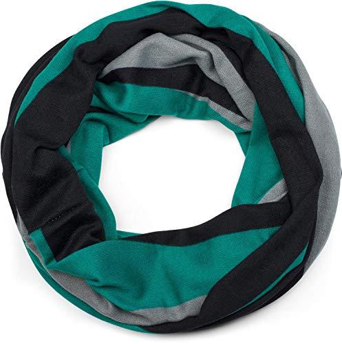 styleBREAKER Unisex Loop Schal Feinstrick mit Wellen Muster, Schlauchschal, Strickschal 01017080, Farbe:Petrol-Grau-Schwarz