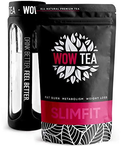 WOW TEA Abnehmen Tee Set: Detox 21 Tage Tee   Fettverbrennende Kräuter   Bester Entgiftung- und Gewichtsmanagement-Grüner-Kräutertee + Infuser Teeflasche   150g, Made in EU