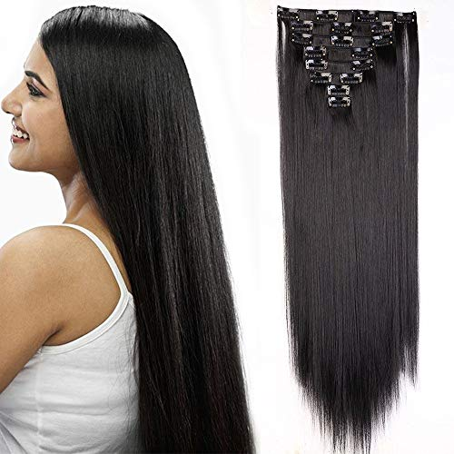 26'(66cm) Extensiones de Cabello Natural Clip 8 Piezas Extensiones Sintéticas Pelo Se Ve Natural Liso Largo Postizos de Pelo Invisible (140g,Negro Natural)