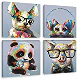 Biufo Colorful Animals Canvas Wall Art Print Funny Panda Smart Pig Painting Picture for Kids Boy Girl Room Nursery Decor, Framed 12x12 Inches