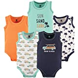 Hudson Baby Unisex Baby Cotton Sleeveless Bodysuits, Surf Car, 3-6 Months