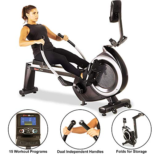 Fitness Reality 4000MR Magnetic Rower Rowing Machine with 15 Workout Programs, 2677, Black