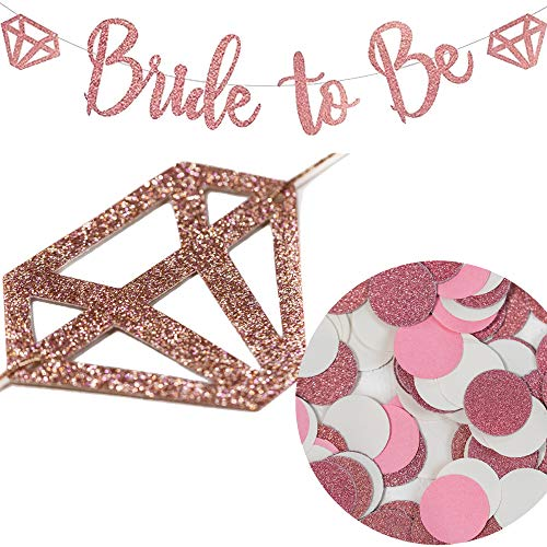 Bride to Be Banner Rose Gold Glitter with Bonus Free Rose Gold and Pink Confetti - Party Decorations for Bridal Showers, Bachelorette Parties, Engagement Parties and Wedding Showers