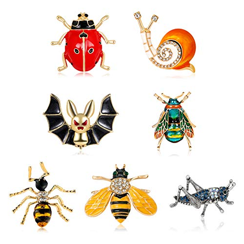 Set of 7 Millipede Animal Enamel Brooches Rhinestone Crystal Spider Snail Ladybird Bat Brooch Pin Beauty Clothes Collar Dress Scarf Bag Halloween Decoration Clip Lapel Pin for Women Gift