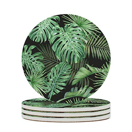 Fineiwillgo Posavasos de cerámica con hoja de plátano, protector redondo, de cerámica con base de corcho, divertido para mesa de diámetro de 9,8 cm, color blanco, 6 unidades