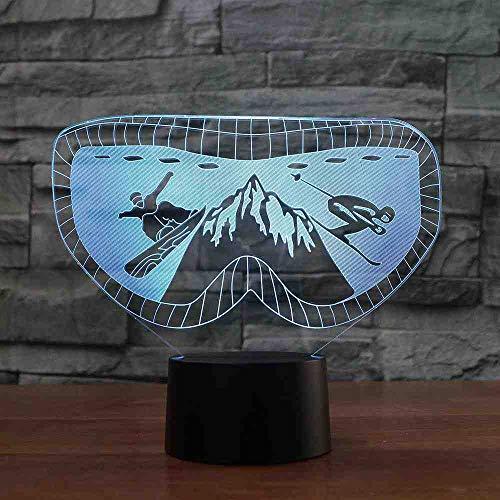 BJDKF 3D skibril moulding nachtlampje 7 kleuren veranderen snowboard bureaulamp led acryl lamp geschenken baby slaapkamer decor