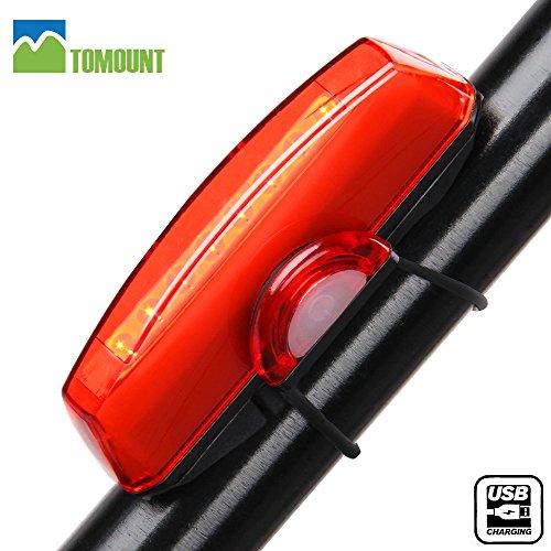 Luz Trasera Impermeable para Bicicleta Recargable USB – TOMOUNT Potente LED 6 Modo de Iluminación Faro Trasero Bici Luminoso Luces Rojas Máxima Seguridad Ciclismo Adecuado Para Casco y Bicicleta