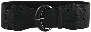 Plus Size Women Fashion Elastic PU Leather Wide Belt Buckle Stretch Waist Belts for Dress