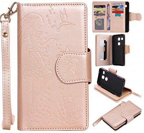 Yiizy Handyhülle für LG Nexus 5X Hülle, Mädchen Prägung Entwurf PU Ledertasche Beutel Tasche Leder Haut Schale Skin Schutzhülle Cover Stehen Kartenhalter Stil Schutz (Golden)