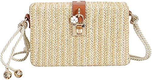 Bolso de hombro de algodón con borla de ganchillo para mujer