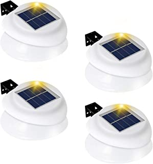 Owalle Lumina Bright Solar Outdoor Fence Gutter Post Cap Light with 9 LED Chips for Deck, Yard, Walkways, Stairs, Patio, Pathway, Driveway, Auto On/Off at Dawn and Dusk (White, 4 Pack)
