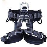 FSYG Alpinismo Arnés de Escalada Cintura Cadera Proteccion Asiento Cinturón Más Amplio Medio Cuerpo Correa Cuerda para Árbol Balanceo Montañismo Fuego Rescate,Negro