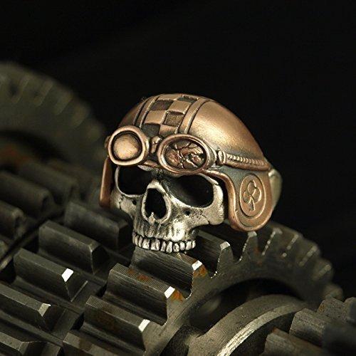 Totenkopfring RACEHEAD - Ausgefallener Ring mit anatomisch korrektem Totenkopf aus Silber und Helm aus Bronze – Ring für Herren und Damen