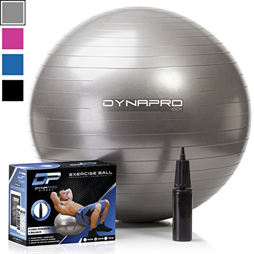 DYNAPRO Exercise Ball - 2,000 lbs Stability Ball - Professional Grade – Anti Burst Exercise Equipment for Home, Balance, Gym, Core Strength, Yoga, Fitness, Desk Chairs (Silver, 75 Centimeters)