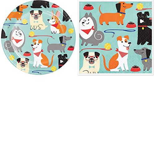 Olive Occasions Dog Happy Birthday Party Disposable Paper Party Supplies Serves 16 Cake Plates, Beverage Napkins and Grandma Olive's Multi-Generational Recipe