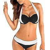heekpek Tops de Bikini Conjunto Las Mujeres Empujan hacia Arriba El Sujetador Adornado Bandeau Bikini de Cintura Baja Traje de Baño Más El Tamaño Sexy Multicolor Baño Acolchado