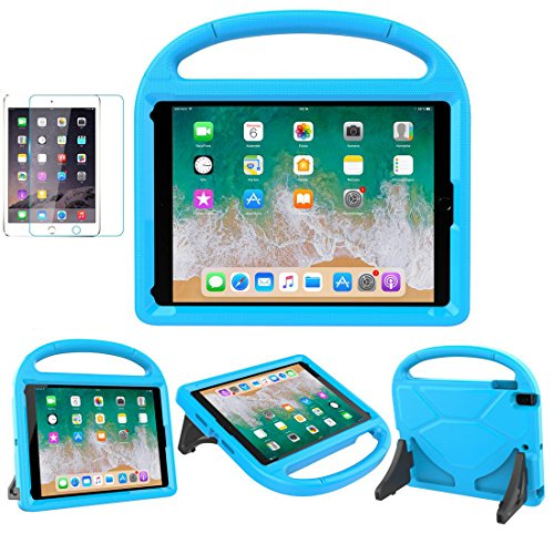 iPad 9.7 2018 / 2017 / Air 1/2 / Pro 9.7 Case for Kids - SUPLIK Durable Shockproof Protective Handle Bumper Stand Cover with Screen Protector for iPad 9.7 inch 5th/6th Generation, Blue