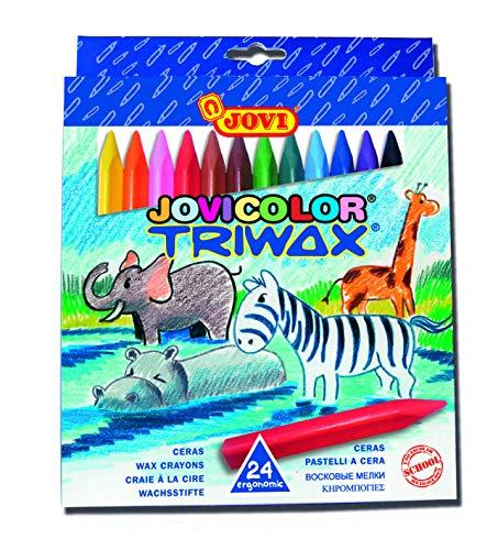 Jovi Triwax Triangular Crayons, Multicolor, Set of 24