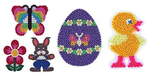 Happy Price Toys Midi Stiftplatten Set 21 - Oster Set 2 - Küken,Ei,Häschen,Blume,Schmetterling + Bügelanleitung im Blister Beutel