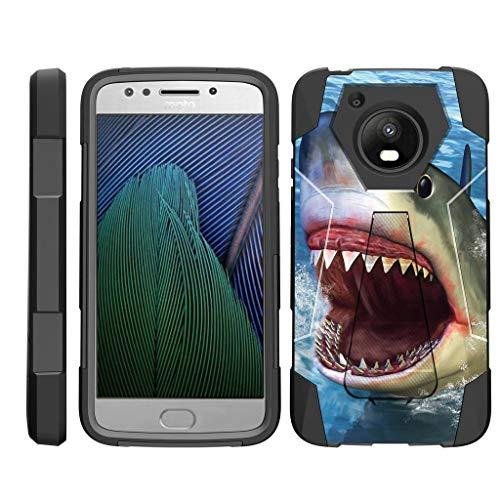 TurtleArmor | Compatible with Motorola Moto E4 Case | Moto E 4th Gen | XT1768 [Dynamic Shell] Dual Layer Hybrid Impact Case Fitted Silicone Kickstand Sea Ocean - Shark Attack